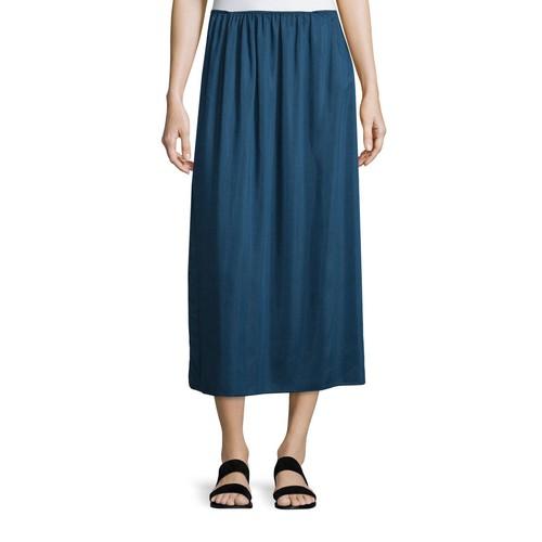 THE ROW Luda A-Line Midi Skirt, Dark Sapphire
