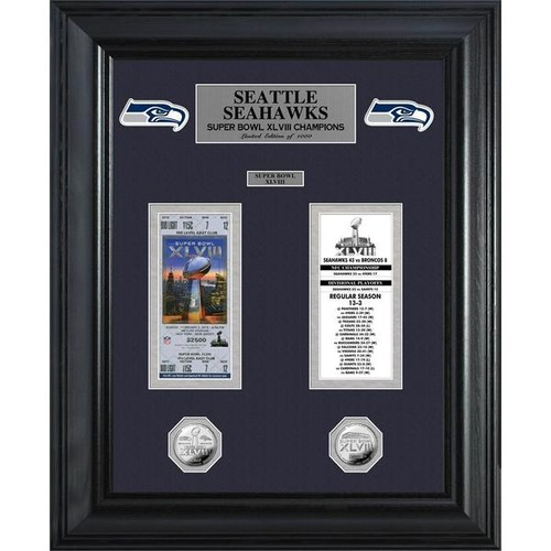 Seattle Seahawks Super Bowl Ticket and Game Coin Collectable