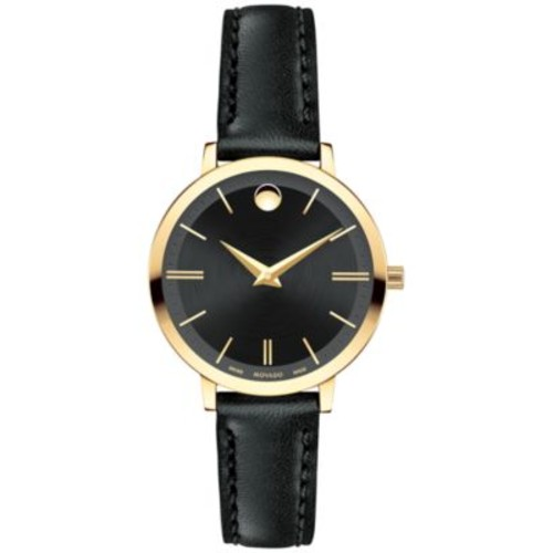 Movado Women's Swiss Ultra Slim Black Leather Strap Watch 28mm 0607095