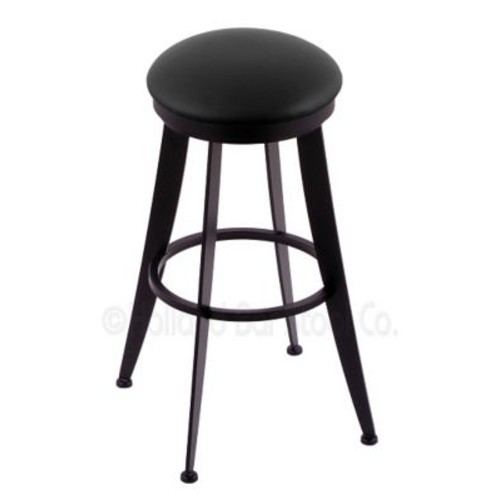 Holland Bar Stool Laser 25'' Swivel Bar Stool; Black Vinyl
