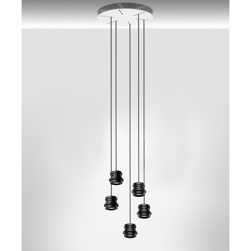 Tool Multi Light Round Suspension Light [Pendants : 5 Small \/ 78 in Cable; Canopy : White Canopy]