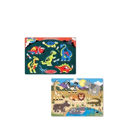 Melissa & Doug Animals Wooden Peg Puzzles Set - Safari and Dinosaurs
