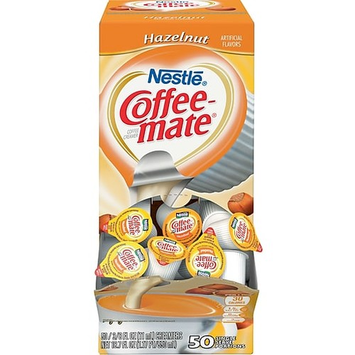 Nestl Coffee-mate Coffee Creamer, Hazelnut, .375oz liquid creamer singles, 50 count