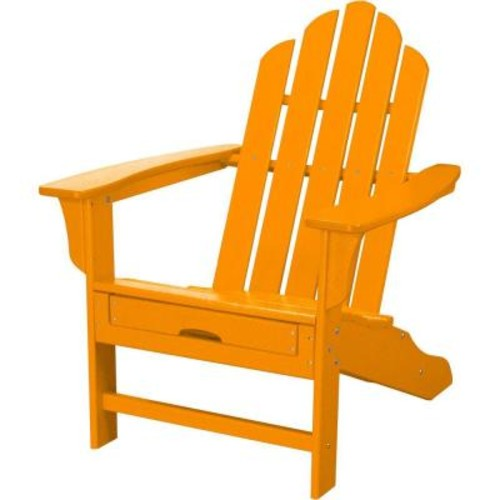 Hanover All-Weather Patio Adirondack Chair with Hide-Away Ottoman in Tangerine Orange