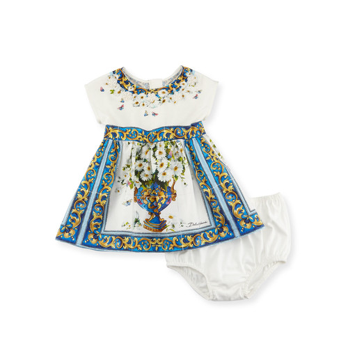 DOLCE & GABBANA Majolica Tile And Floral Print Dress W/ Bloomers, White Pattern, Size 12-36 Months