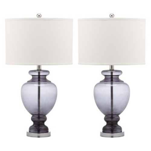 Clear Glass Table Lamp - Gray (Set of 2) - Safavieh