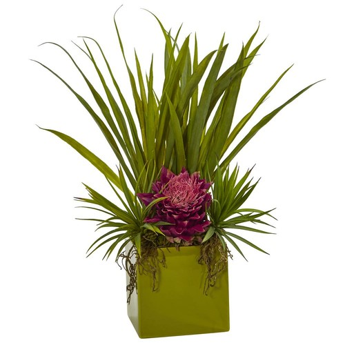 Nearly Natural Tropical And Succulent Artificial Arrangement in Mauve