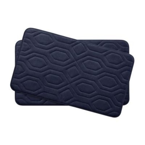 BounceComfort Turtle Shell Indigo 17 in. x 24 in. Memory Foam 2-Piece Bath Mat Set