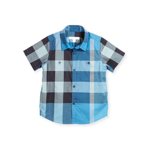 BURBERRY Mini Camber Short-Sleeve Check Shirt, Blue, Size 4