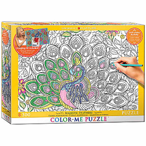 Eurographics Inc Color-Me Puzzle - Majestic Feathers: 300 Pcs