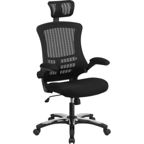 Silkeborg High-Back Black Mesh Executive Swivel Chair w/Flip-Up Arms
