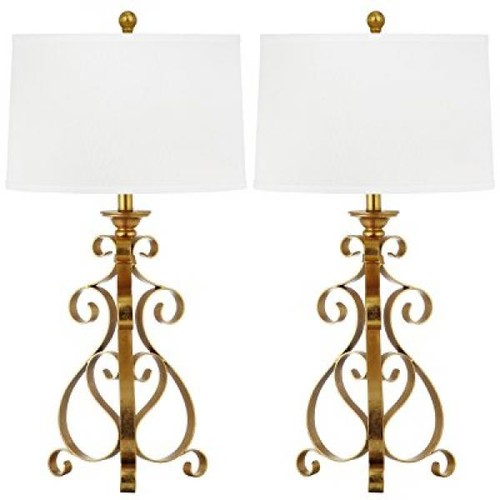 Safavieh Lighting Collection Scroll Sculpture Antique Gold 31.5-inch Table Lamp (Set of 2)