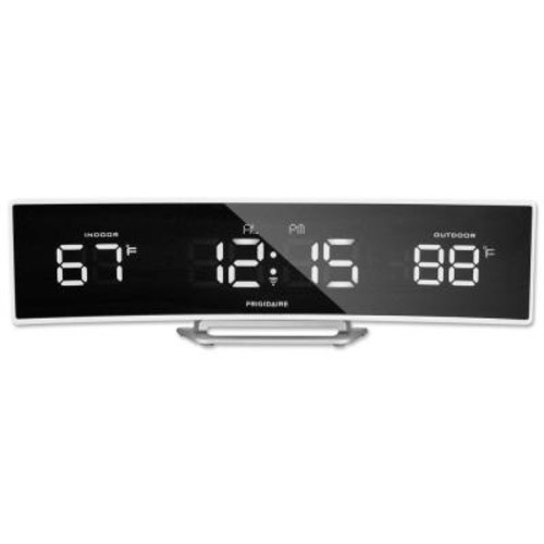 Frigidaire Wireless Thermometer with Curved, Bright Night Viewing Mirrored LED, in White