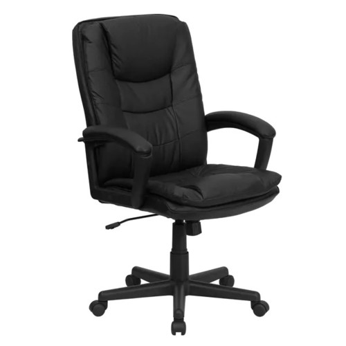 Black High-back Leather Executive Swivel Office Chair