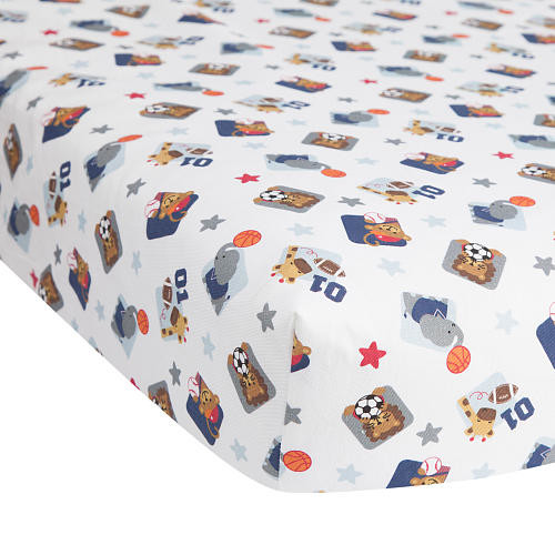 Lambs & Ivy(R) Future All Star Blue/Gray Sports Fitted Crib Sheet