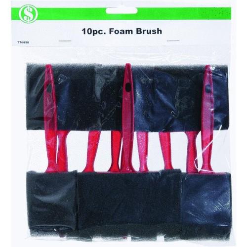 Smart Savers 10-Piece Foam Brush Set With Plastic Handles - CC101062