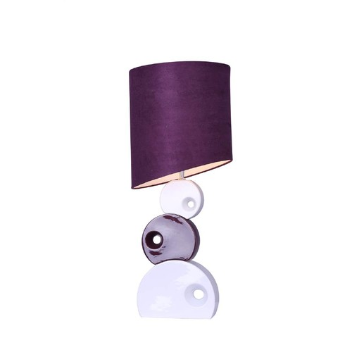 Elegant Designs Stacked Circle Ceramic Table Lamp w Asymmetrical Shade