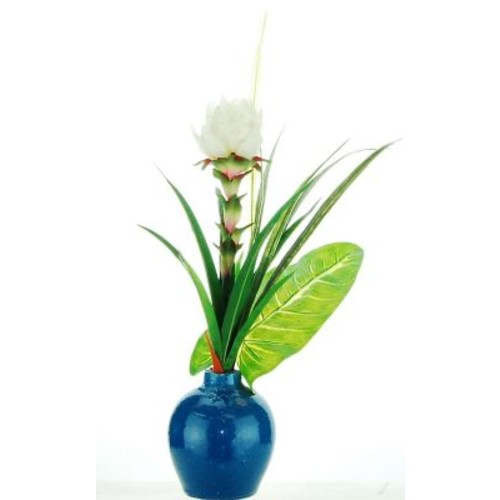 Bay Isle Home Mixed Tropical Floral Arrangement in Ceramic Vase