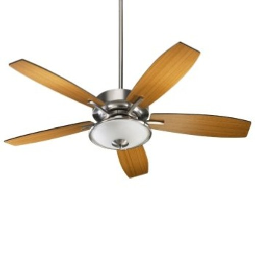 Soho Ceiling Fan with Light Kit [Fan Body and Blade Finish : Satin Nickel with Satin Nickel and Walnut]