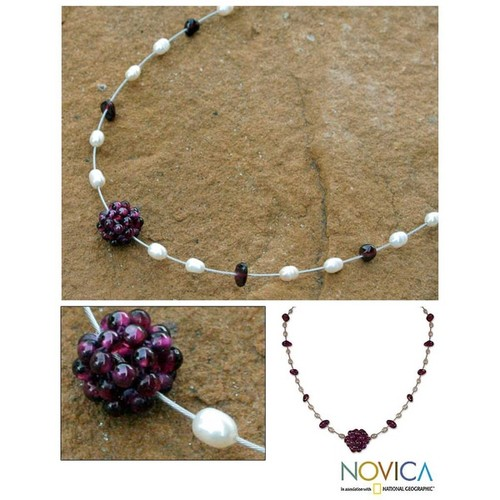 Handmade Pearl and Garnet 'Caviar' Necklace