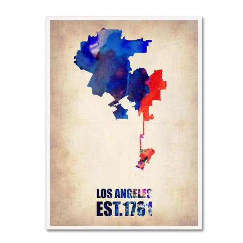 Trademark Global Naxart 'Los Angeles Watercolor Map 2' Canvas Art [Overall Dimensions : 14x19]