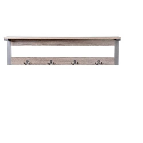 Homestar - 1 shelf 4-hook wall mounted entry way coat rack - warm reclaimed wood