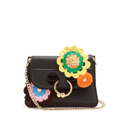Pierce mini crochet-appliqu cross-body bag