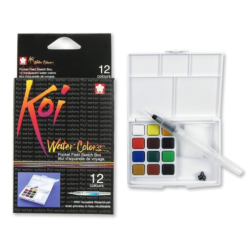 Sakura XNCW-12H, 12 Assorted Watercolors Field Sketch Set with Brush: Luscombe G: Arts, Crafts & Sewing [12 Color Set, Koi Water Color Field Sketch Set]
