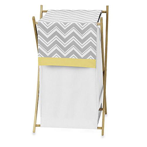Sweet Jojo Designs Zig Zag Laundry Hamper in Grey/Yellow
