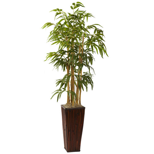 Nearly Natural 4 Bamboo w/Decorative Planter Silk Plant