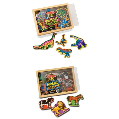 Melissa & Doug Animals and Dinosaurs Wooden Magnet Set