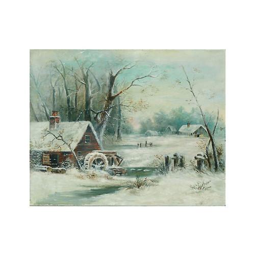 Winter Water Mill Scene