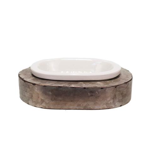 White/Grey Ceramic/Metal Soap Dish - SOAP DISH