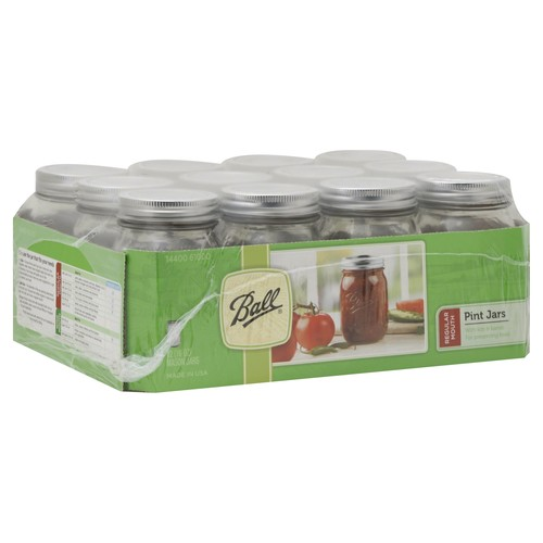 Ball Canning Pint Jars, Regular Mouth - 12 pack