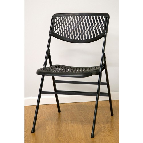 Cosco Home and Office Products Black Commercial Resin Mesh Folding Chair, 4-pack