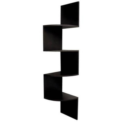 AZ Home and Gifts nexxt Provo 4-Tier 12 in. x 57 in. MDF Corner Shelf in Black