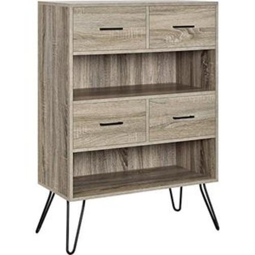 Altra Furniture Landon 2 Shelf Bookcase in Oak and Gunmetal Gray