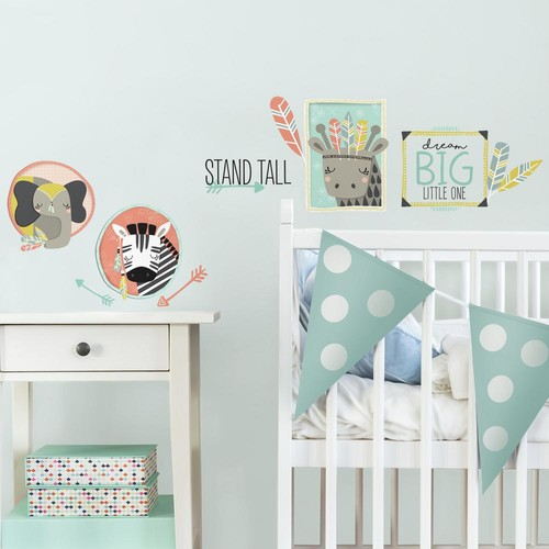 RoomMates 5 in. x 11.5 in. Little Explorer Animal Gallery 14-Piece Peel and Stick Wall Decals
