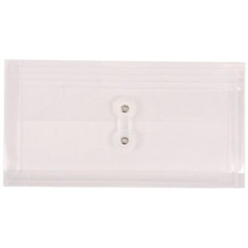 JAM Paper #10 Plastic Envelopes with Button and String Tie Closure, 5 1/4 x 10, Clear Poly, 12/pack (921B1cl)