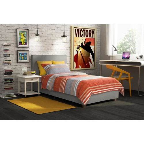 Dorel Maddie Twin Grey Linen Upholstered Bed