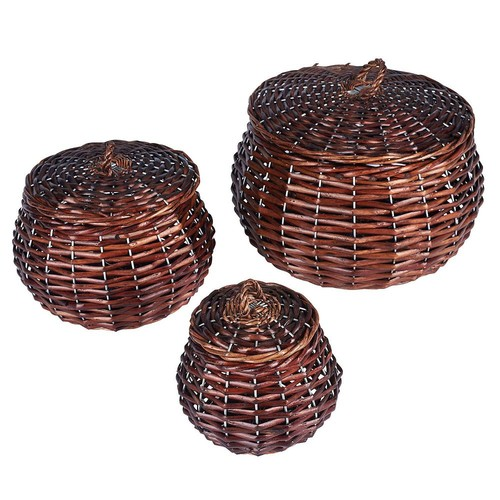 Household Essentials 3-piece Vanity Round Willow Storage Basket Set