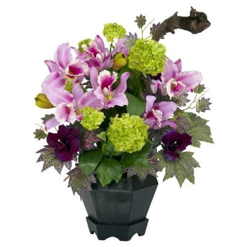 Nearly Natural Mixed Cattleya & Hydrangea Silk Arrangement