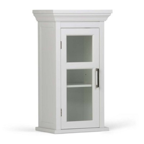 Simpli Home Avington 15 in. W x 26-4/5 in. H x 10 in. D Bathroom Storage Wall Cabinet with Tempered Glass Door in White