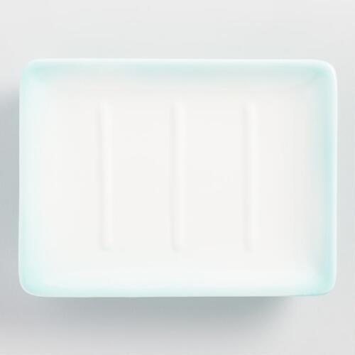 Aqua Ombre Ceramic Soap Dish