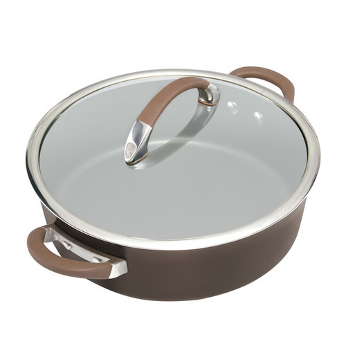 Circulon Symmetry Chocolate Hard-Anodized Nonstick Covered Sauteuse, 5-Quart, Brown