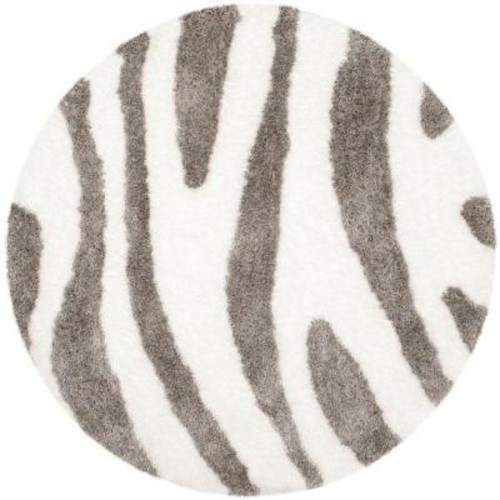 Safavieh Barcelona Shag Ivory/Silver 5 ft. x 5 ft. Round Area Rug