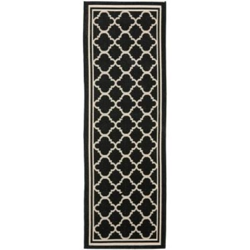 Safavieh Courtyard Black/Beige 2 ft. 3 in. x 18 ft. Indoor/Outdoor Runner