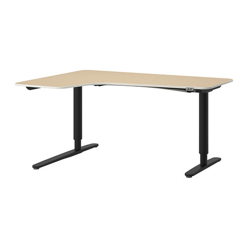 BEKANT Corner desk left sit/stand, birch veneer, black
