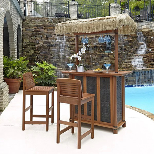 Bali Hai Tiki Bar and Two Stools by Home Styles [option : All wood bar and two stools]