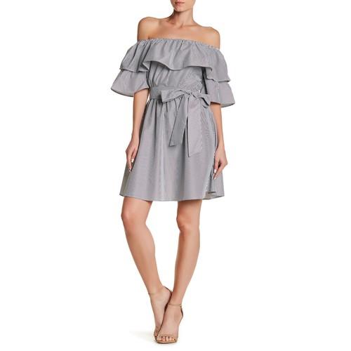 Off-the-Shoulder Ruffle Trim Stripe Print Dress